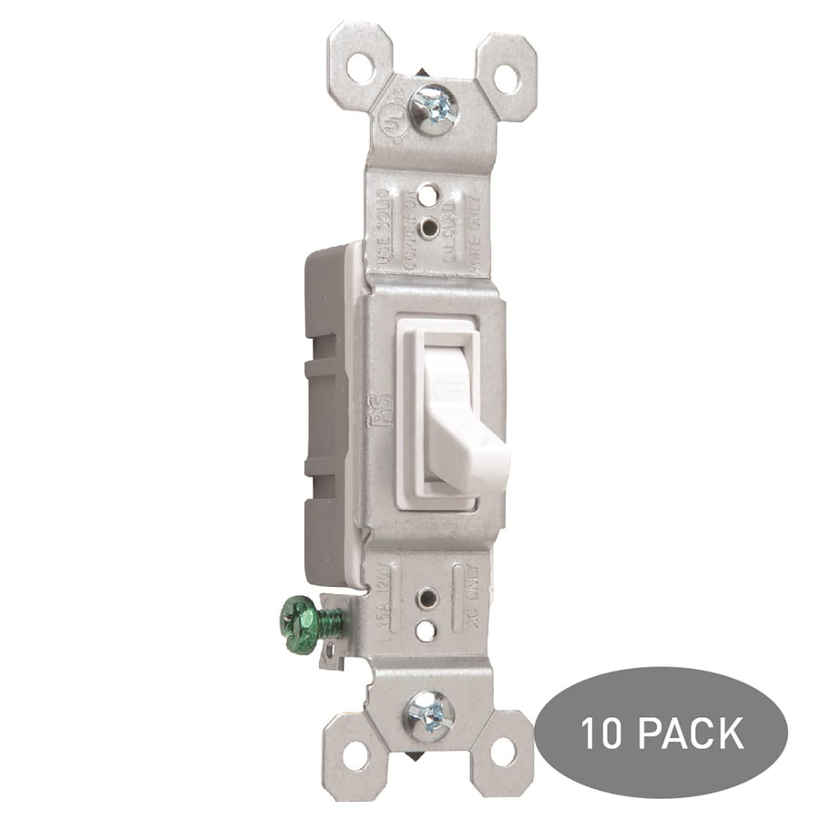 Pass & Seymour/Legrand 10-Pack 15-Amp Single Pole White Indoor Framed Toggle Light Switches