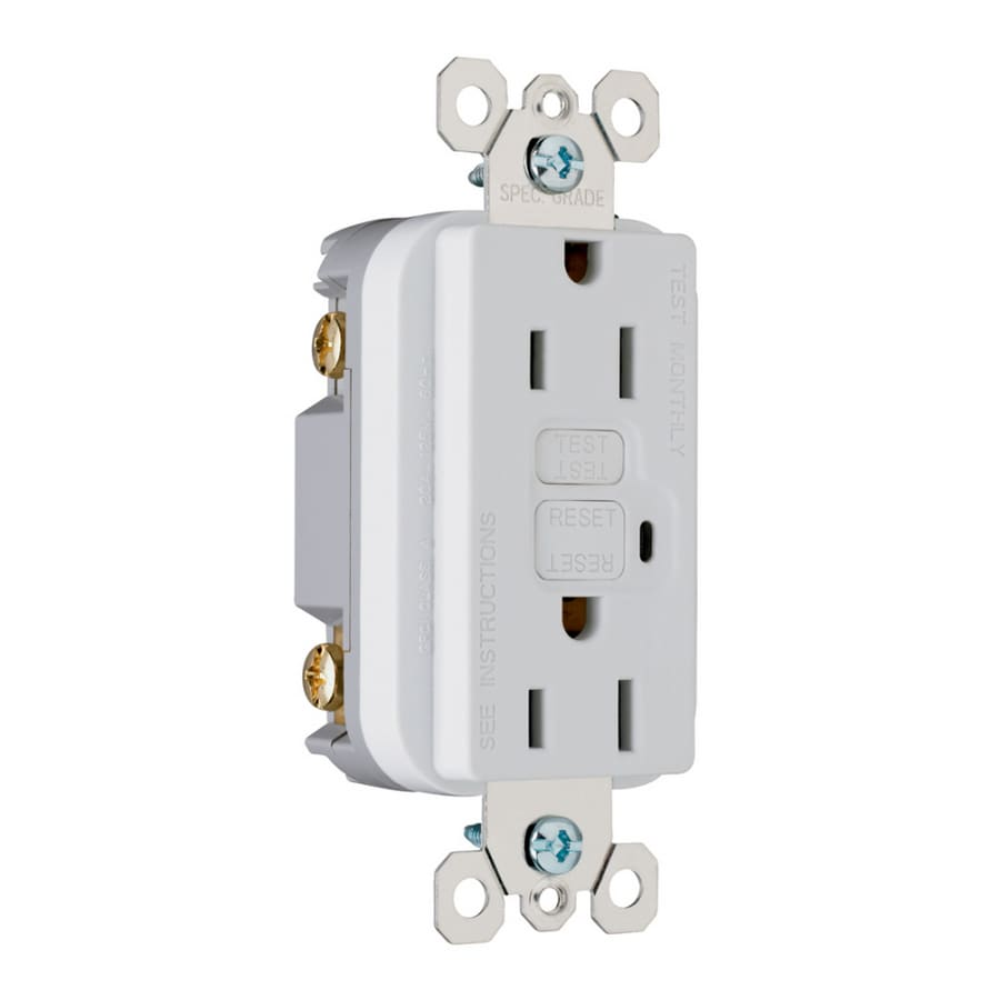 Pass & Seymour/Legrand 15-Amp 125-Volt White GFCI Decorator Electrical Outlet