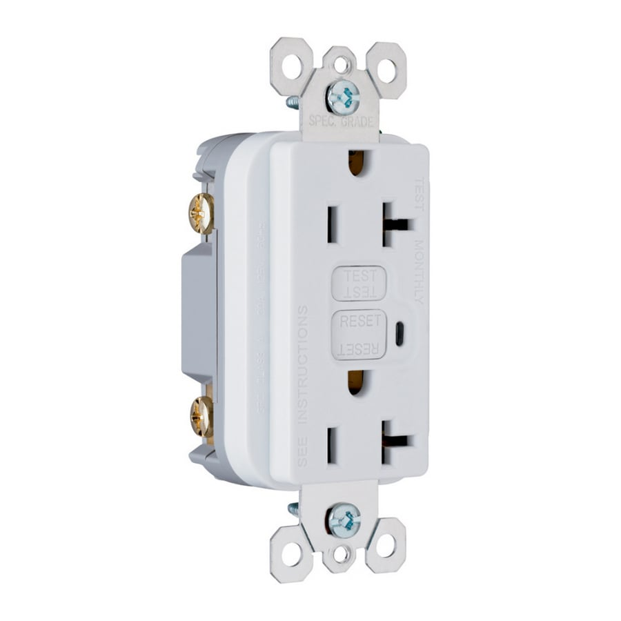 Pass & Seymour/Legrand 20-Amp 125-Volt White GFCI Decorator Electrical Outlet