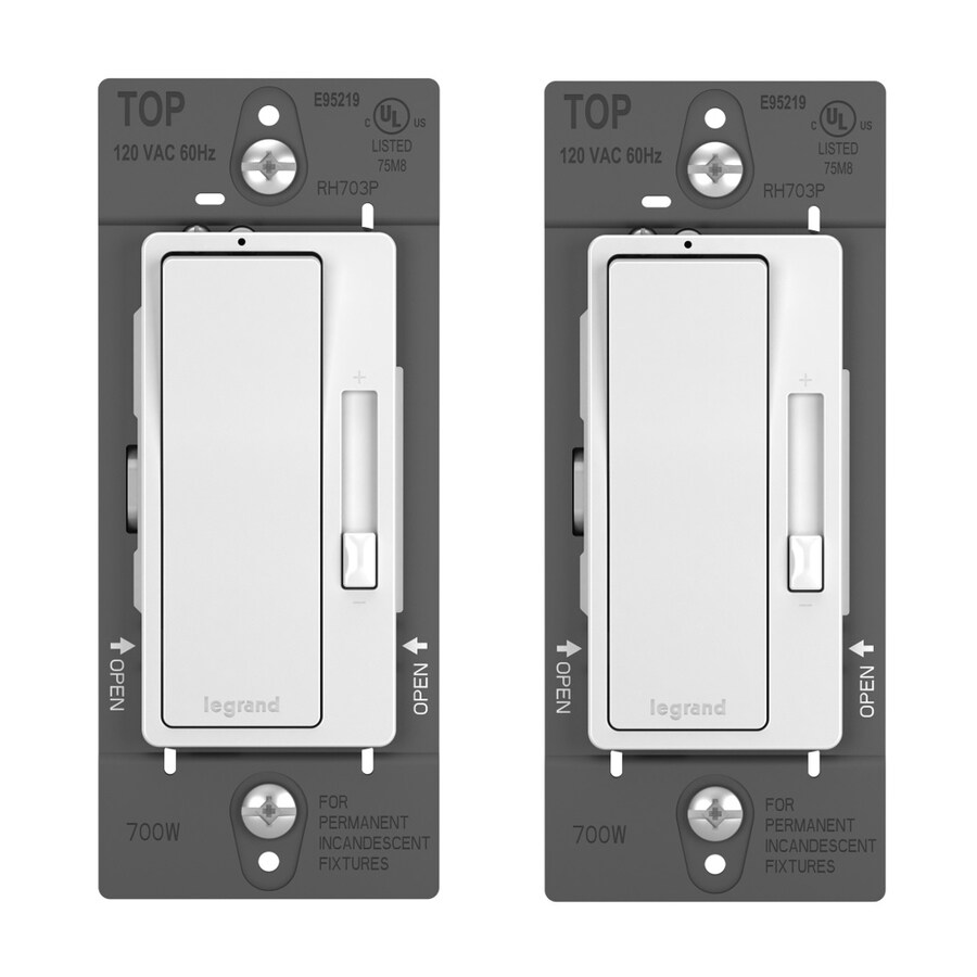 Legrand Radiant 2-Pack 2-Switch 600-Watt 3-Way Single Pole White Indoor Rocker Dimmers