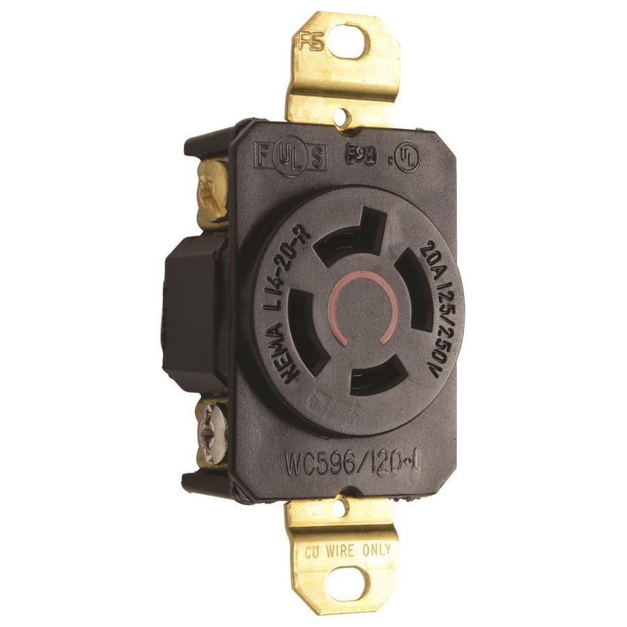 Legrand 20-Amp 125/250-Volt Black Locking Electrical Outlet