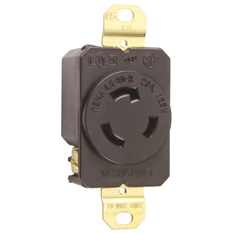 Pass & Seymour/Legrand 20-Amp 125-Volt Black Locking Electrical Outlet