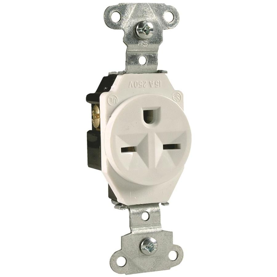 Legrand 15-Amp 250-Volt White Indoor Round Wall Outlet