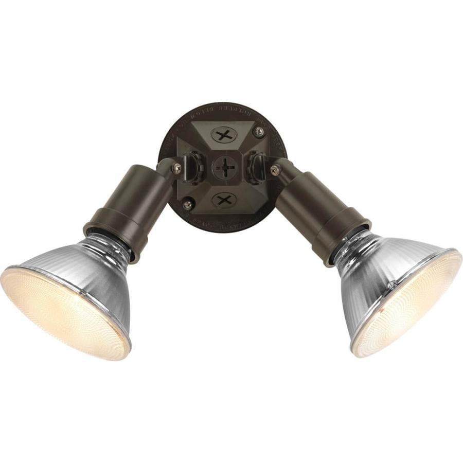 Progress Lighting 4.625-in 2-Head Halogen Antique Bronze Switch-Controlled Flood Light