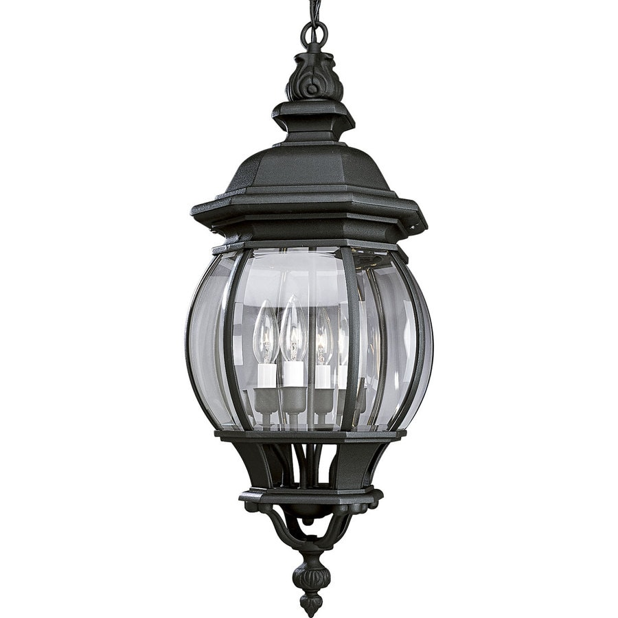 Progress Lighting Onion Lantern 28-in Textured Black Outdoor Pendant Light