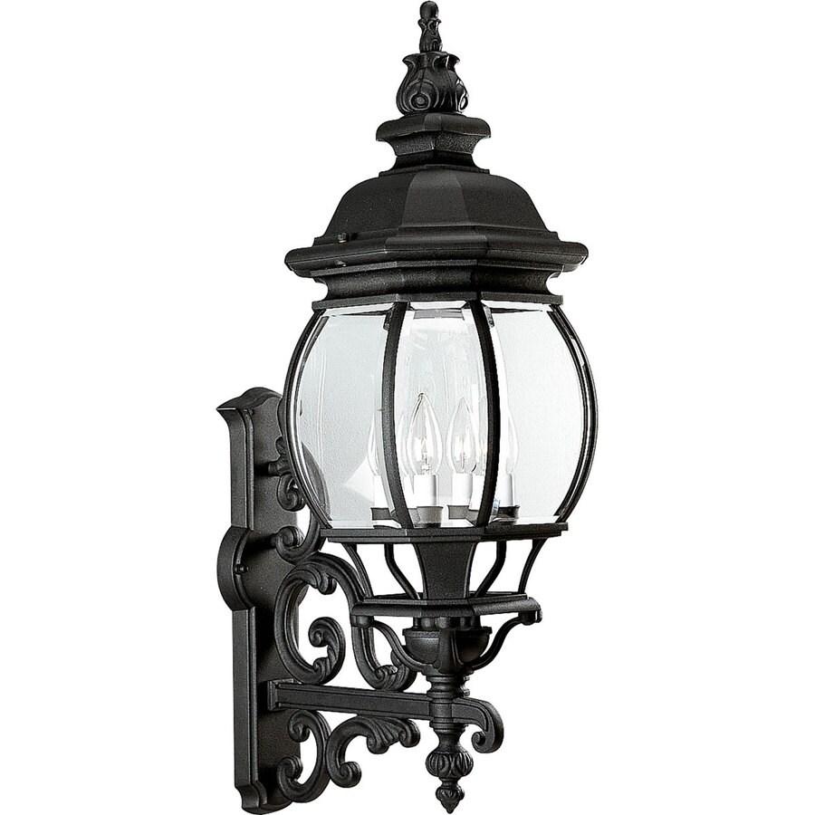 Progress Lighting Onion Lantern 31-in H Textured Black Outdoor Wall Light