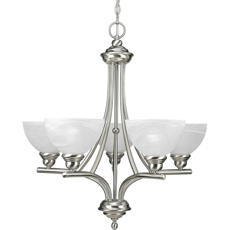 Progress Lighting Glendale 26-in 5-Light Brushed Nickel Alabaster Glass Shaded Chandelier