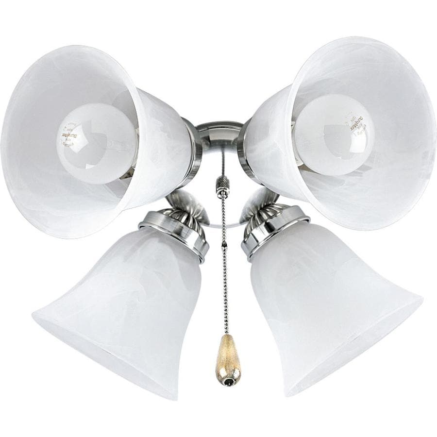 Progress Lighting Airpro 4-Light Brushed Nickel Incandescent Ceiling Fan Light Kit with Alabaster Shade