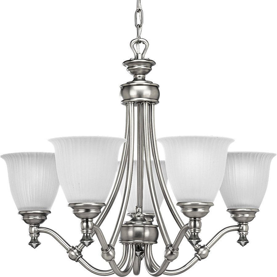 Progress Lighting Renovations 25-in 5-Light Antique Nickel Etched Glass Shaded Chandelier