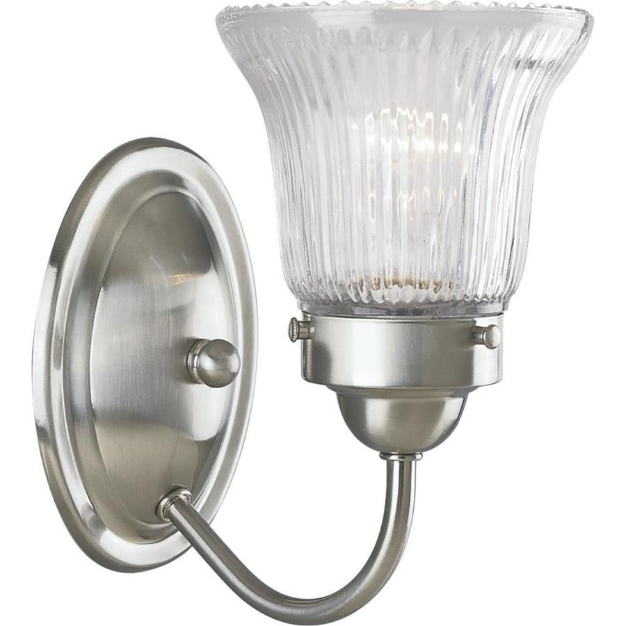 Progress Lighting Fluted Glass 1-Light Brushed Nickel Bell Vanity Light