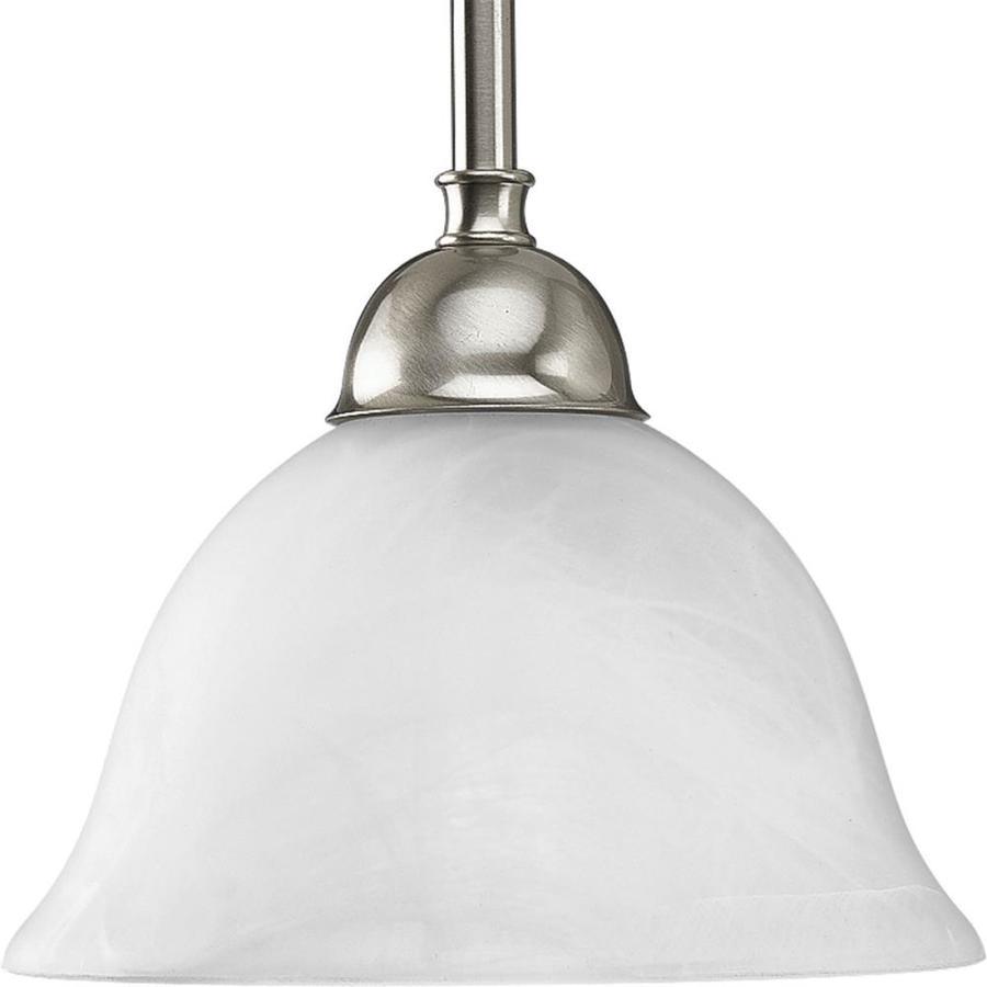 Progress Lighting Avalon 7.75-in Brushed Nickel Mini Alabaster Glass Bell Pendant