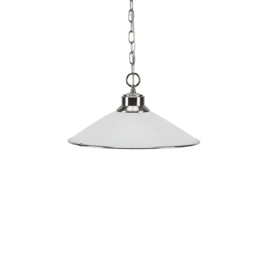 Progress Lighting Glass Pendants 16.62-in Brushed Nickel Mini Etched Glass Cone Pendant