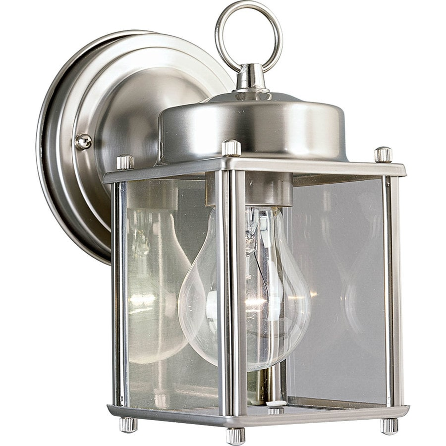 Shop progress lighting 8 in h brushed nickel outdoor wall for Outside lighting fixtures home