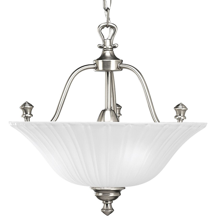 Progress Lighting Renovations 15.62-in W Antique Nickel Frosted Glass Semi-Flush Mount Light