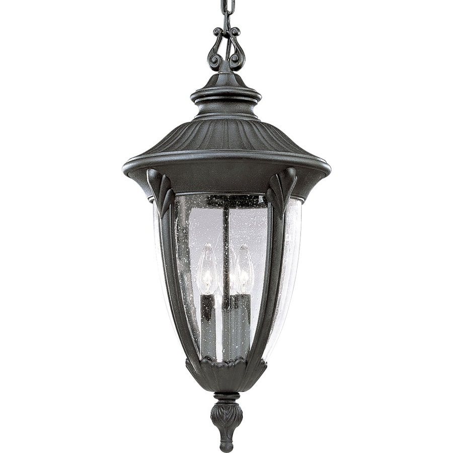 Progress Lighting Meridian 24.37-in Textured Black Outdoor Pendant Light