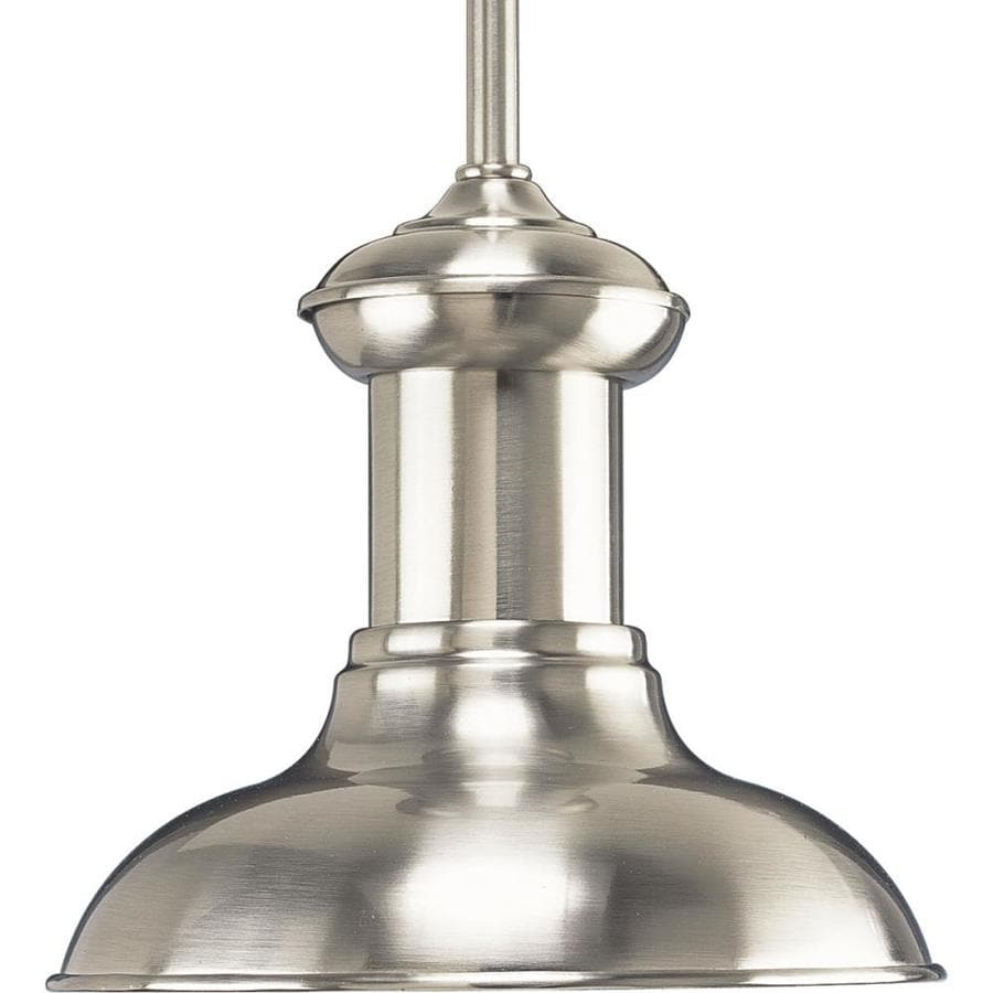 shop progress lighting brookside 8 in brushed nickel mini textured glass dome pendant at lowes