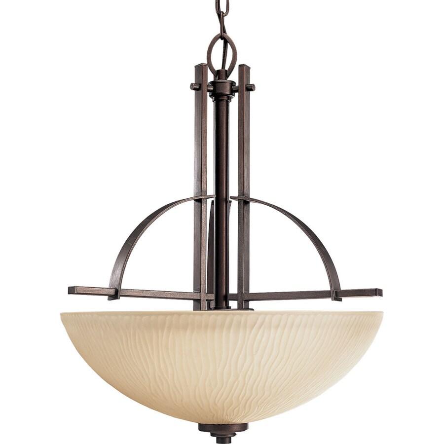 Progress Lighting Riverside 18.75-in 3-Light Heirloom Craftsman Etched Glass Shaded Chandelier