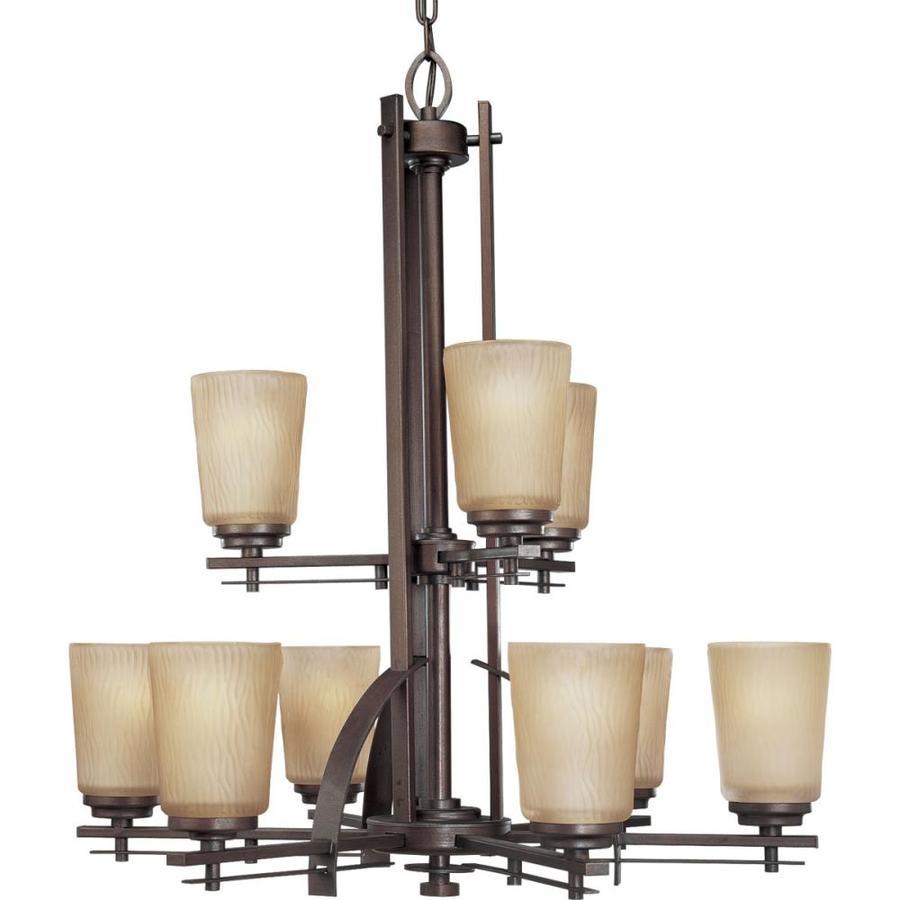 Progress Lighting Riverside 28-in 9-Light Heirloom Craftsman Etched Glass Shaded Chandelier