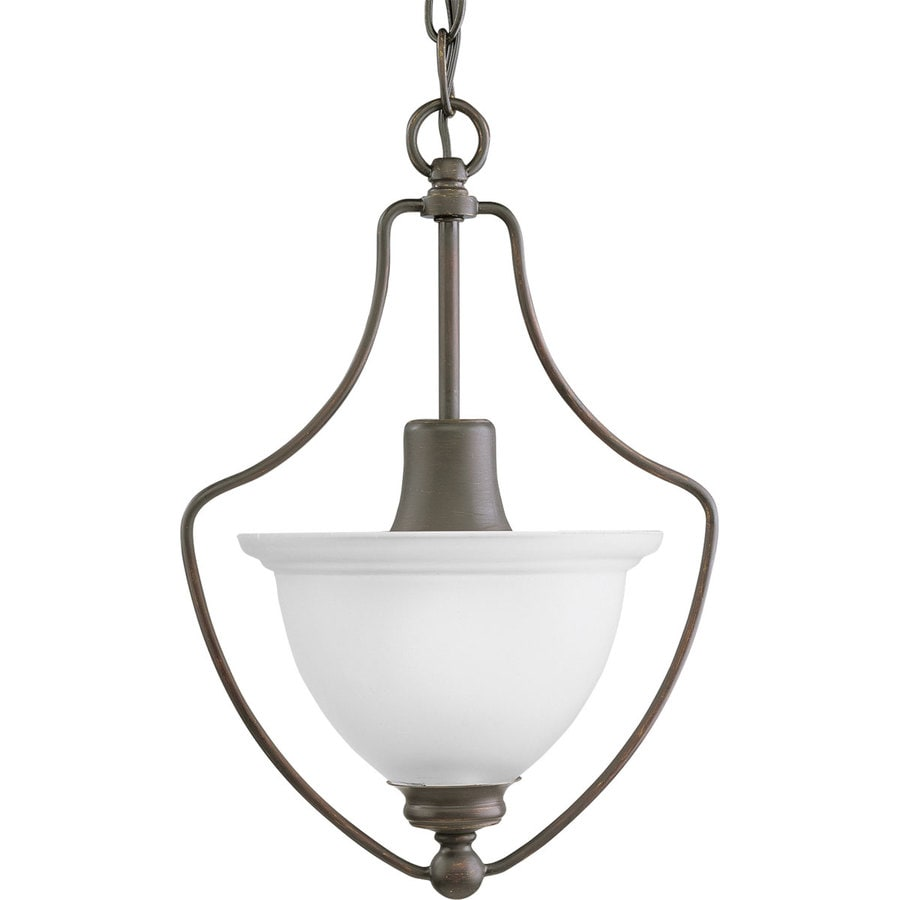 Progress Lighting Madison 9.5-in 1-Light Antique Bronze Etched Glass Shaded Chandelier
