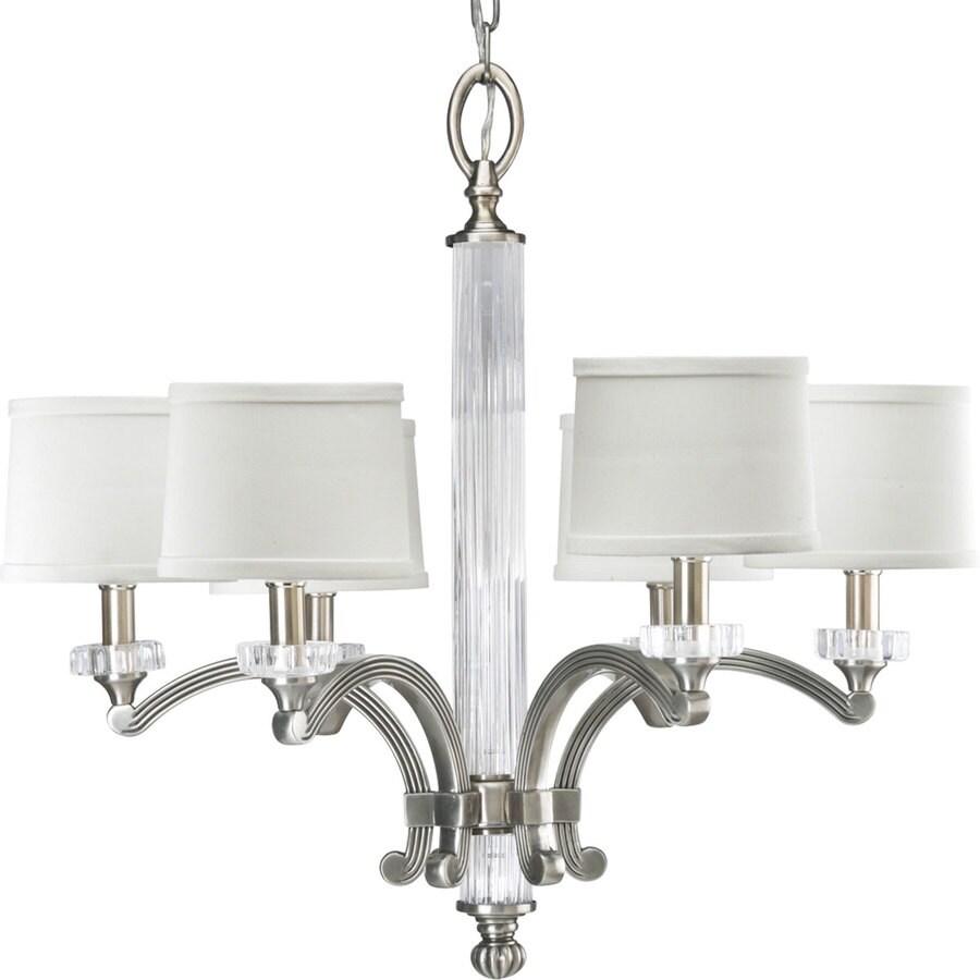 Progress Lighting Roxbury 24.625-in 6-Light Classic Silver Crystal Shaded Chandelier