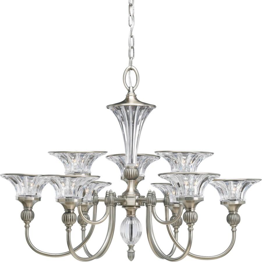 Progress Lighting Roxbury 32.25-in 9-Light Classic Silver Crystal Clear Glass Tiered Chandelier