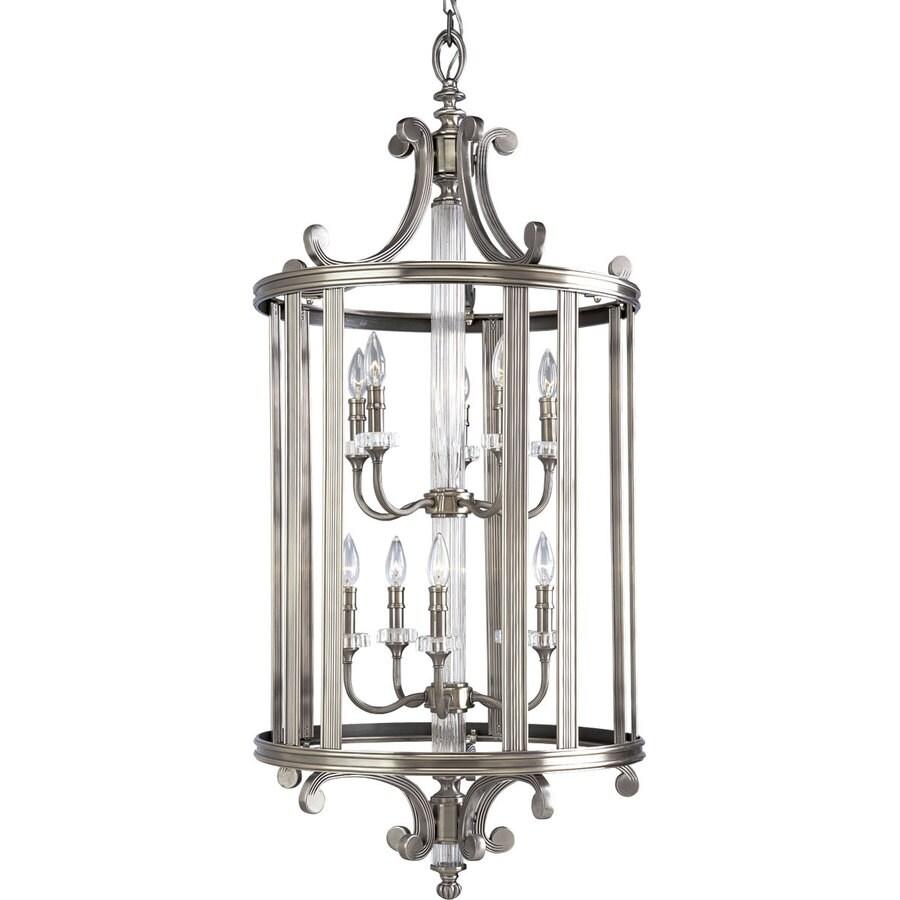 Progress Lighting Roxbury 22-in 10-Light Classic Silver Crystal Tiered Chandelier