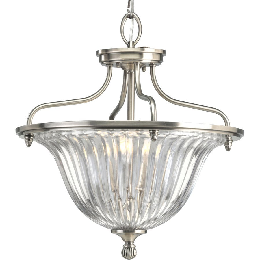 Progress Lighting Roxbury 16-in W Classic Silver Clear Glass Semi-Flush Mount Light