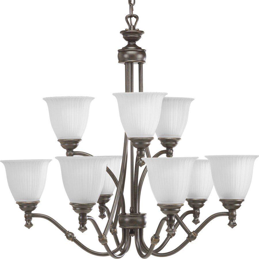 Progress Lighting Renovations 30-in 9-Light Forged Bronze Etched Glass Tiered Chandelier