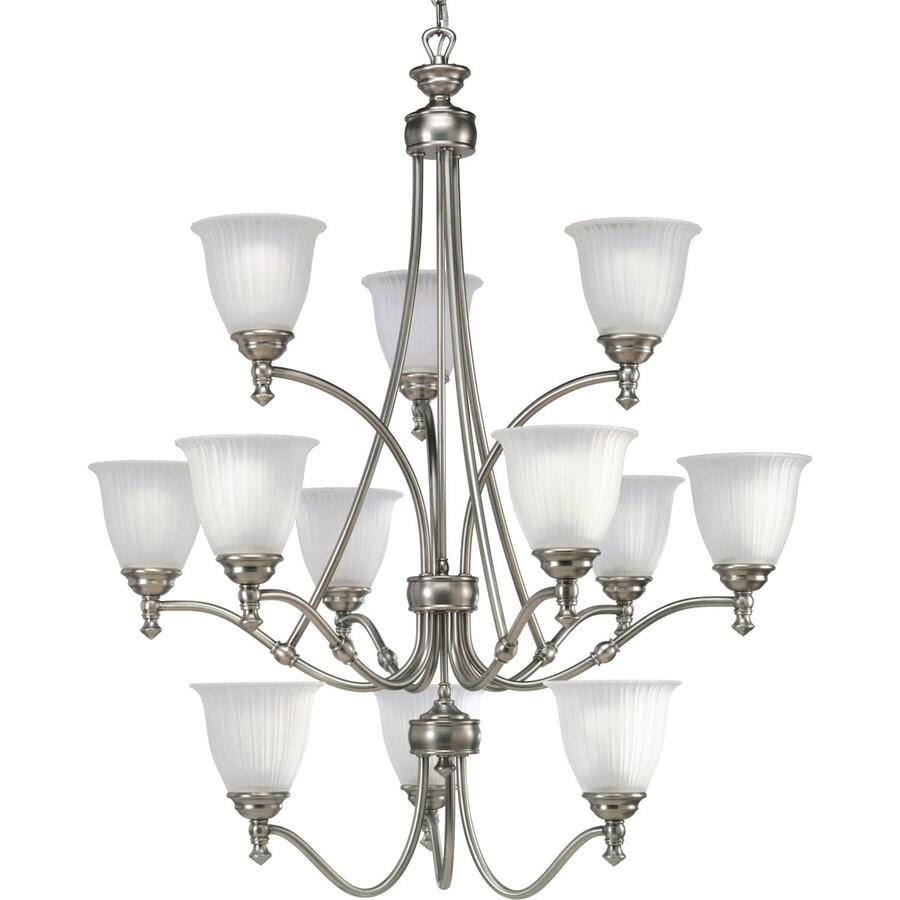 Progress Lighting Renovations 33-in 12-Light Antique Nickel Etched Glass Tiered Chandelier