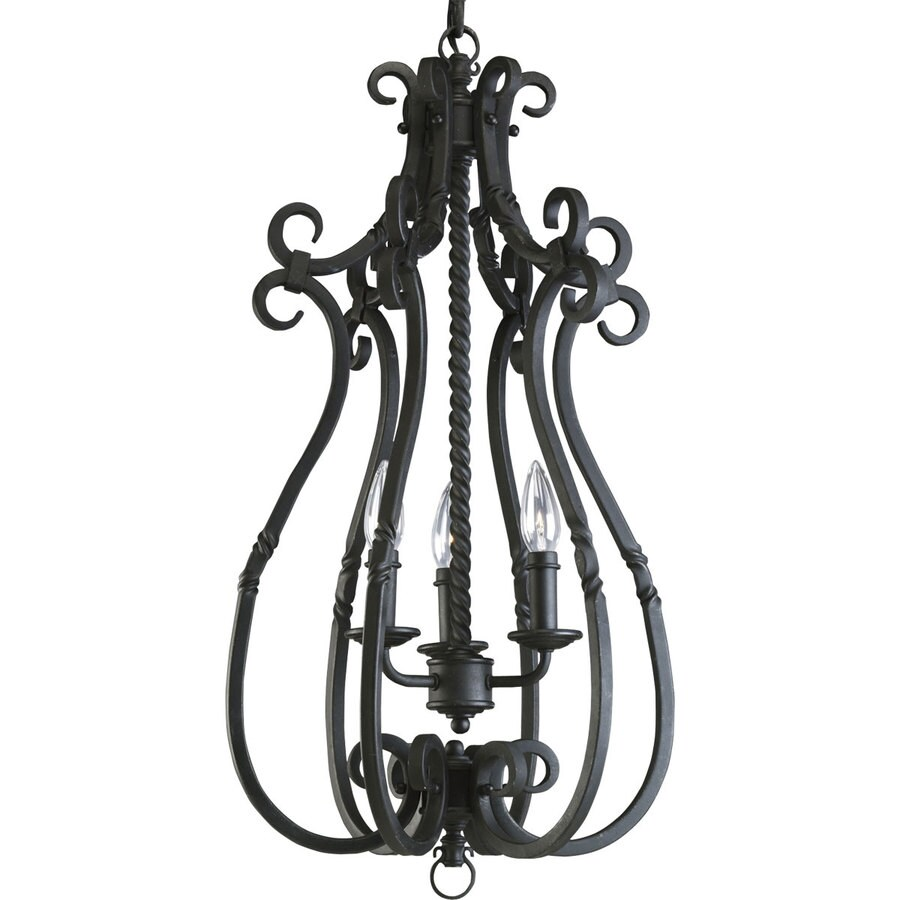 Progress Lighting Santiago 14.25-in 3-Light Forged Black Rustic Shaded Chandelier