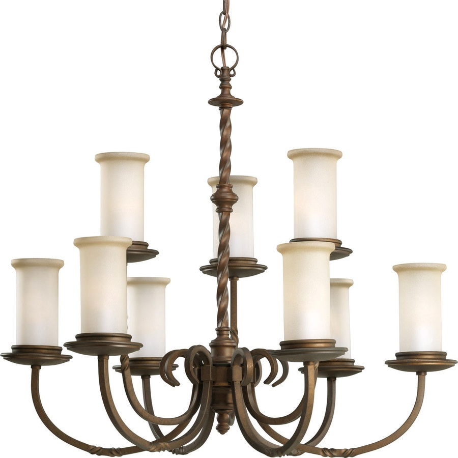 Progress Lighting Santiago 32-in 9-Light Roasted Java Rustic Tinted Glass Tiered Chandelier