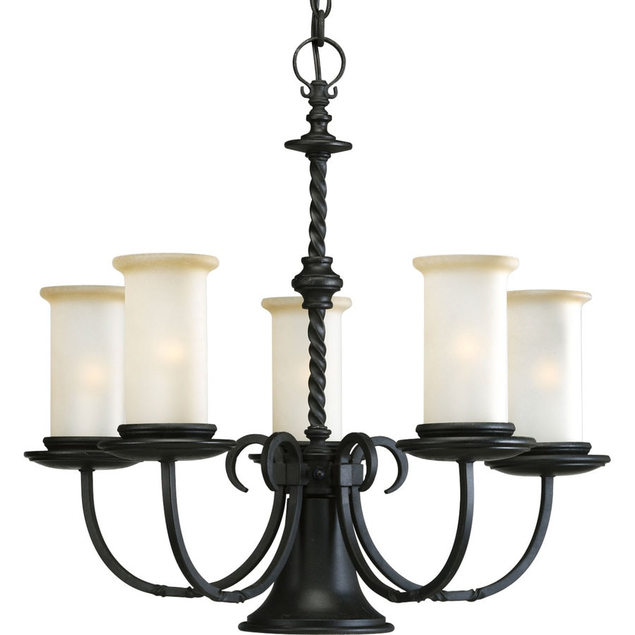 Progress Lighting Santiago 24.25-in 5-Light Forged Black Rustic Tinted Glass Shaded Chandelier