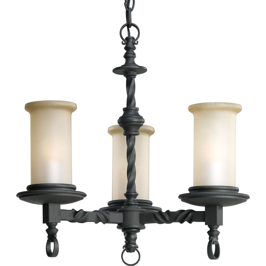 Progress Lighting Santiago 18-in 3-Light Forged Black Rustic Tinted Glass Shaded Chandelier