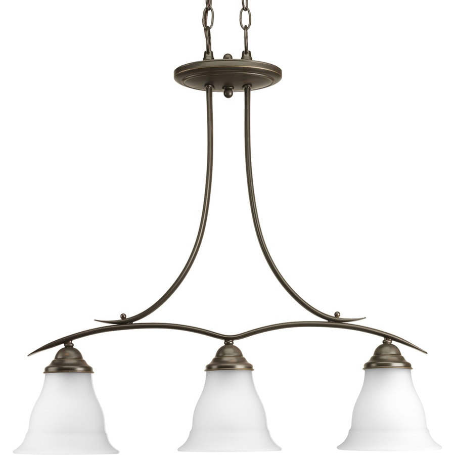 Progress Lighting Trinity 26.5-in 3-Light Antique Bronze Etched Glass Shaded Chandelier