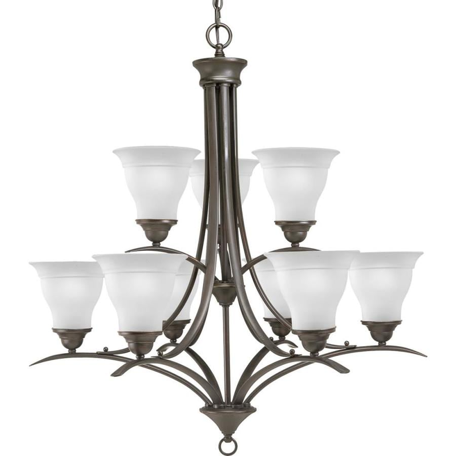 Progress Lighting Trinity 30-in 9-Light Antique Bronze Etched Glass Tiered Chandelier
