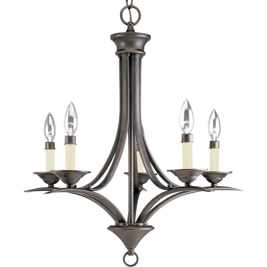Shop Progress Lighting Trinity 21 In 5 Light Antique Bronze Standard Chandeli