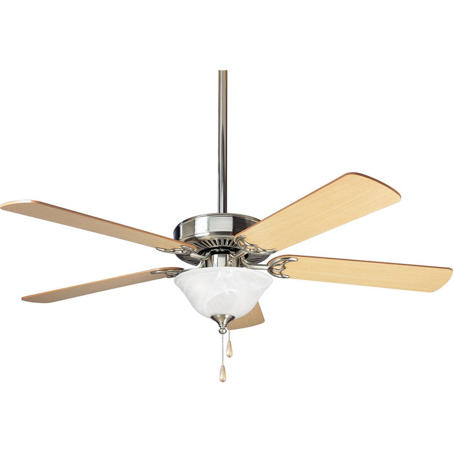 Progress Lighting AirPro Builder 52-in Brushed Nickel Downrod or Close Mount Indoor Ceiling Fan