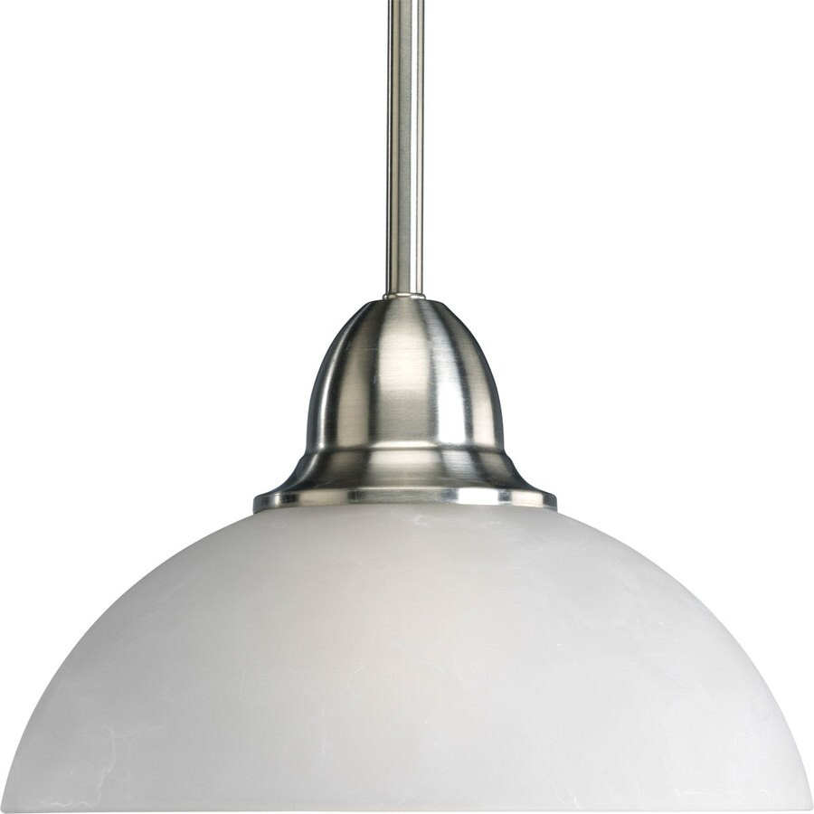 Progress Lighting Pavilion 9.875-in Brushed Nickel Mini Etched Glass Dome Pendant
