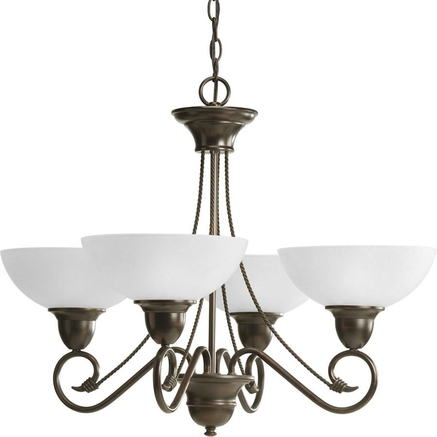 Progress Lighting Pavilion 27.875-in 4-Light Antique Bronze Etched Glass Shaded Chandelier