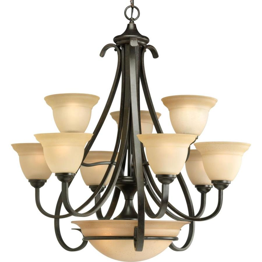 Progress Lighting Torino 32-in 9-Light Forged Bronze Tinted Glass Tiered Chandelier