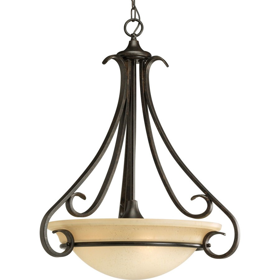 Progress Lighting Torino 22-in 3-Light Forged Bronze Tinted Glass Shaded Chandelier
