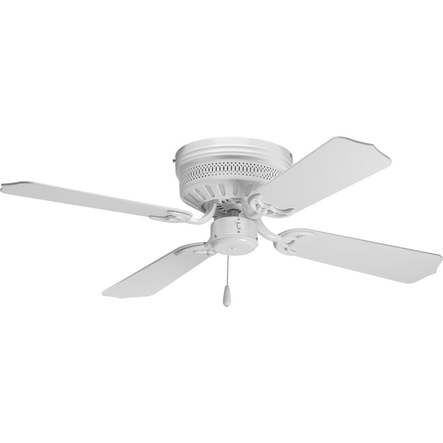 ... AirPro Hugger 42-in White Flush Mount Indoor Ceiling Fan (4-Blade