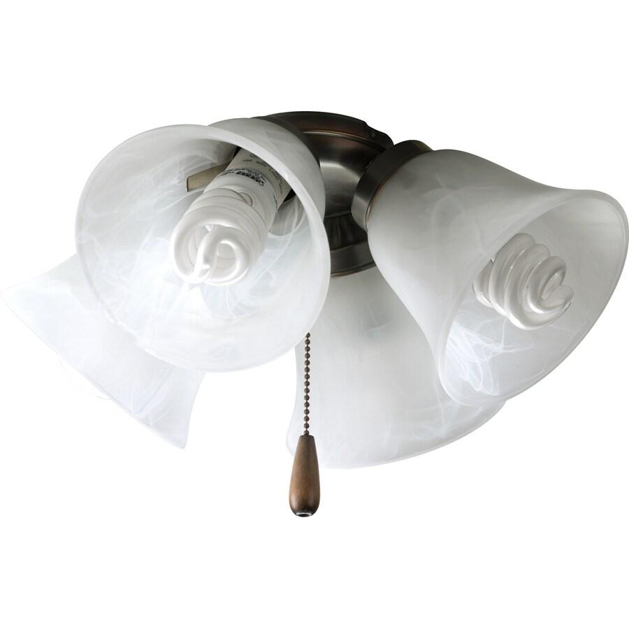 Progress Lighting Airpro 4-Light Antique Bronze Incandescent Ceiling Fan Light Kit with Alabaster Shade