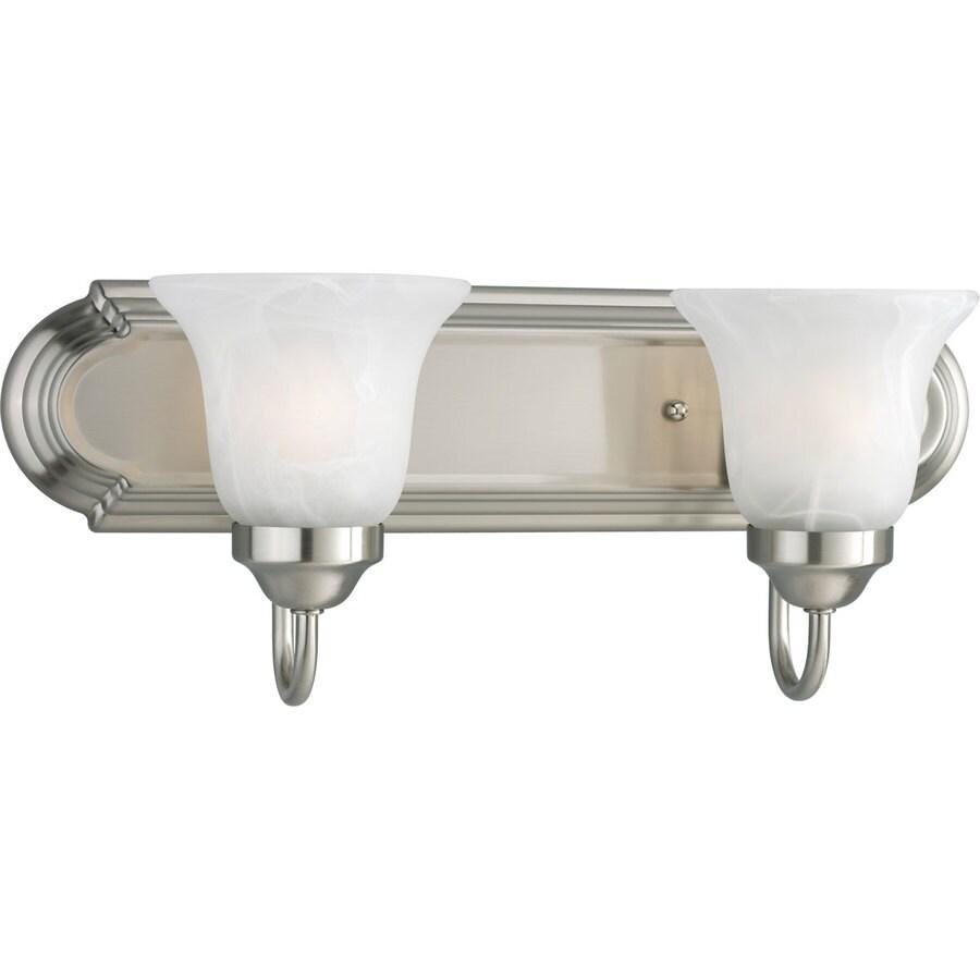 Progress Lighting Alabaster Glass 2-Light Brushed Nickel Bell Vanity Light
