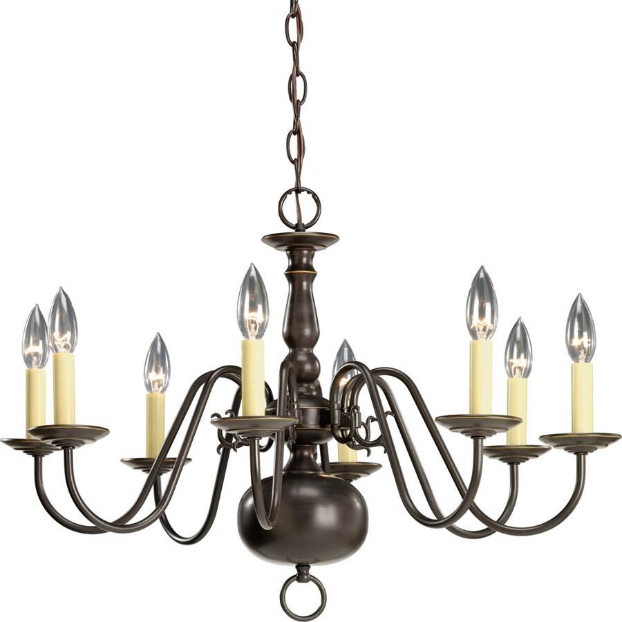 Progress Lighting Americana 26-in 8-Light Antique Bronze Candle Chandelier