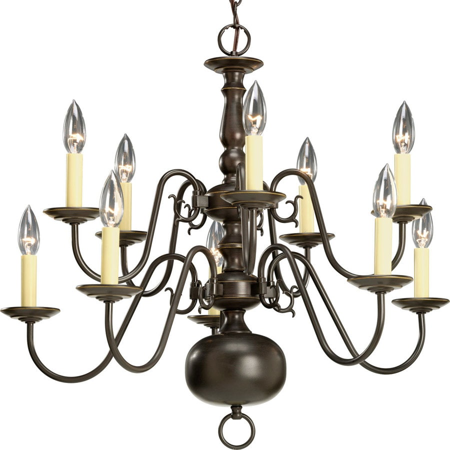 shop progress lighting americana 26 in 10 light antique bronze candle chandelier at lowes