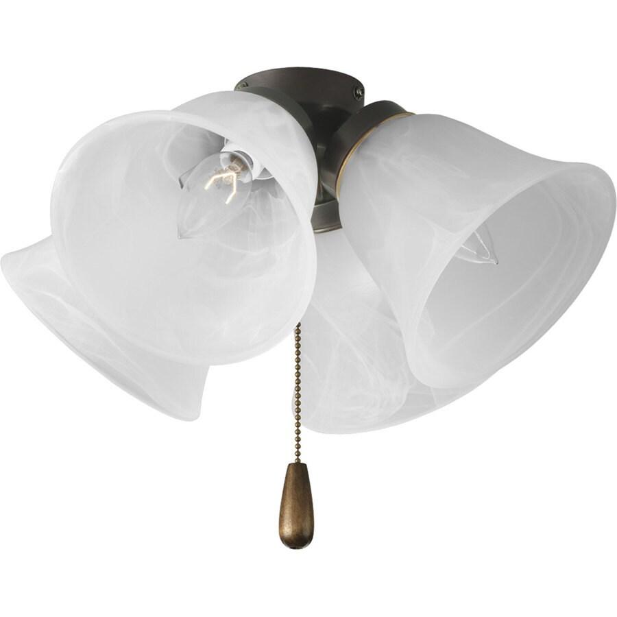 Shop progress lighting airpro 4 light antique bronze incandescent ceiling fan light kit with - Vintage ceiling fan with light ...