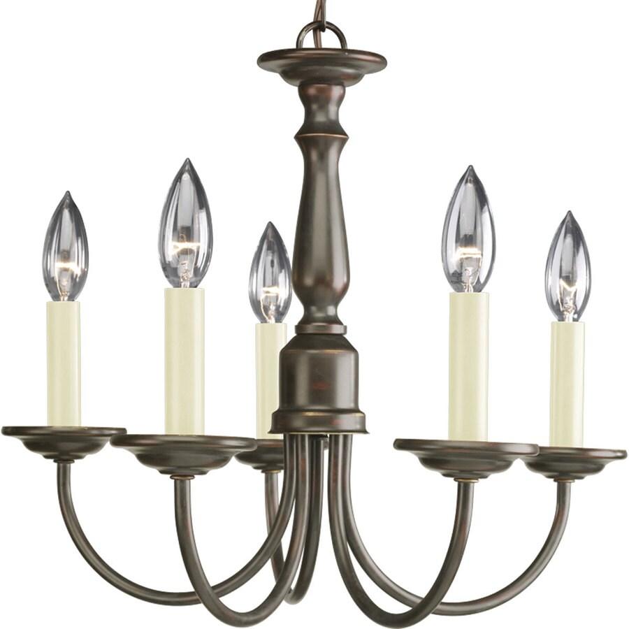 Progress Lighting 17.5-in 5-Light Antique Bronze Shaded Chandelier