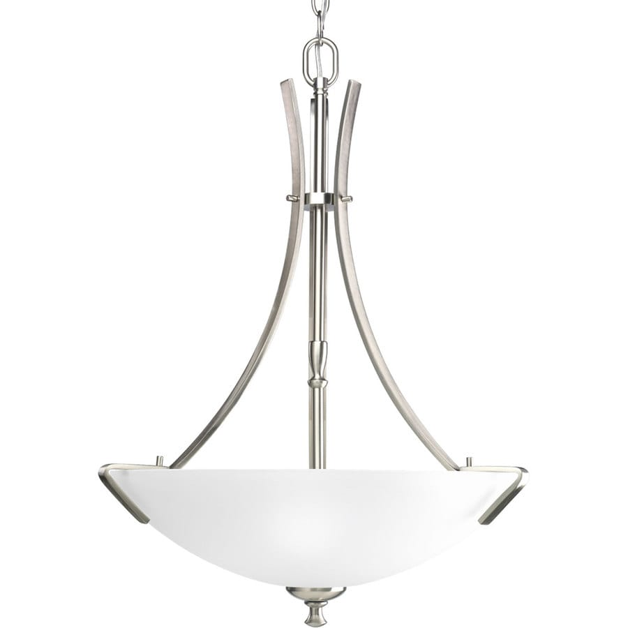 Progress Lighting Wisten 18.125-in 3-Light Brushed Nickel Etched Glass Shaded Chandelier