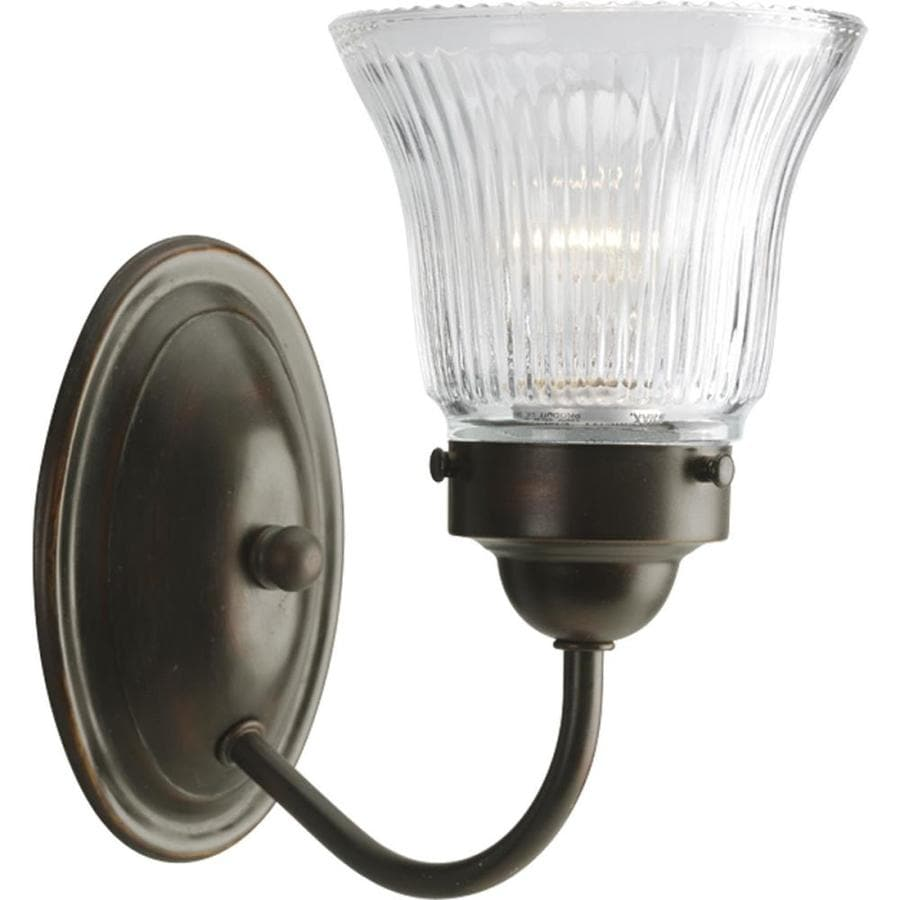 Shop Progress Lighting Alexa 4 Light 9 5 In Brushed Nickel Bell Vanity Light At Lowes Com: Shop Progress Lighting Fluted Glass 1-Light Antique Bronze Bell Vanity Light At Lowes.com